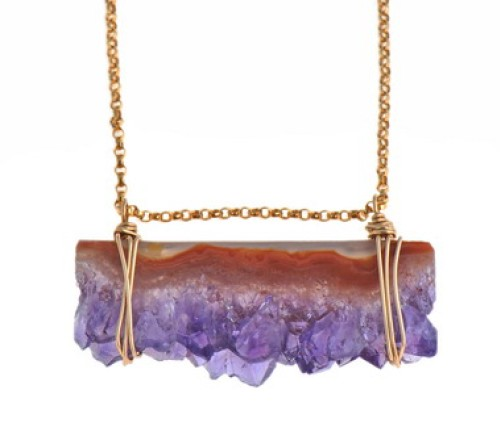 Amethyst Geode Slice Necklace