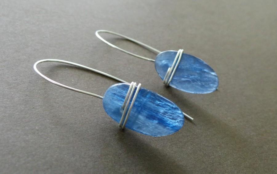 Blue Kyanite Slab Sterling Wrapped Earrings