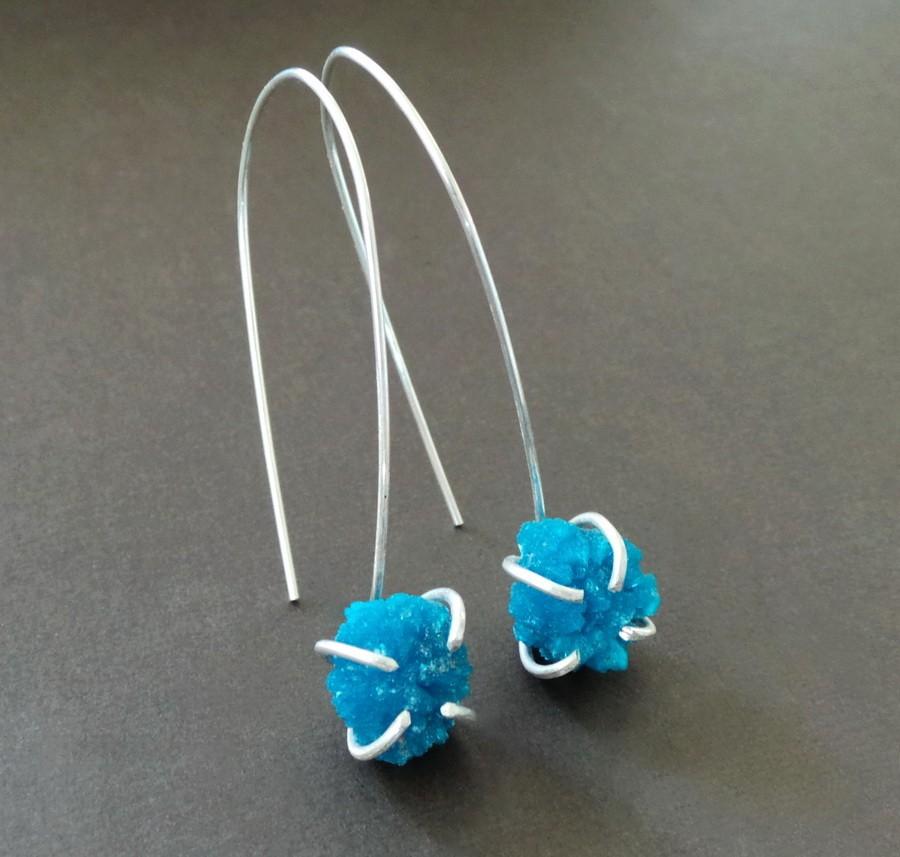 Blue Raw Cavansite Sterling Clutch Earrings