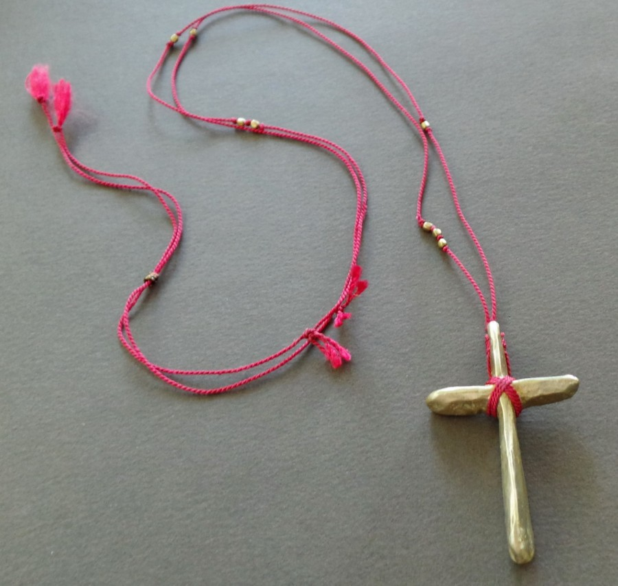 Hand Sculpted Bronze Cross Silk Necklace