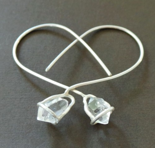 Herkimer Diamond Nugget Sterling Earrings