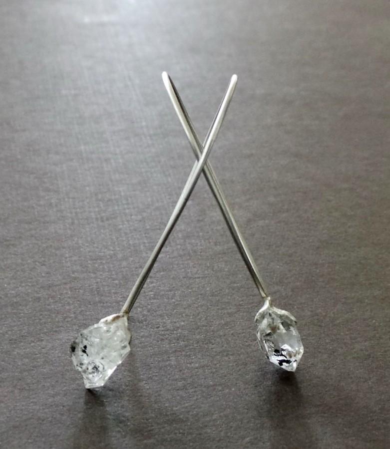 Herkimer Diamond Raw Nugget Sterling Earrings