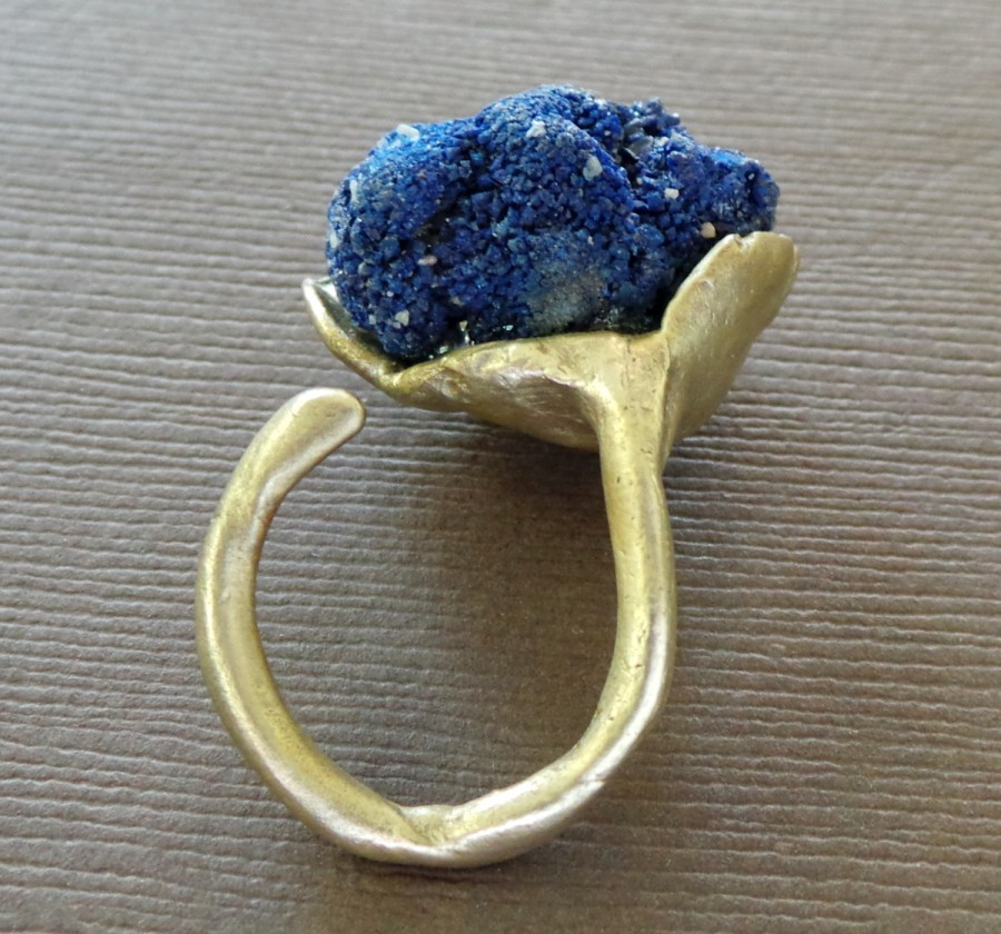 Raw Azurite Nodule Bronze Ring