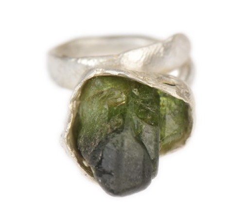 Raw Green Shaded Peridot Ring