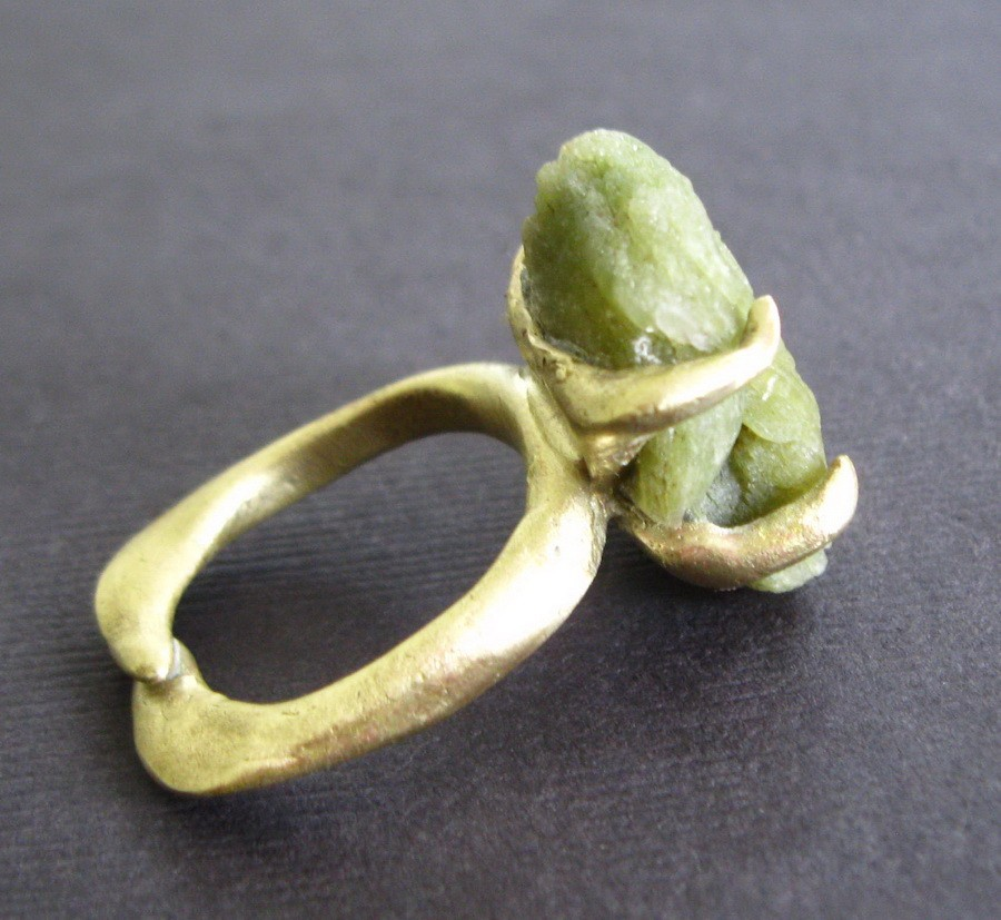 Raw Green Stilbite Bronze Ring