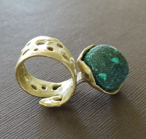 Raw Malachite Drusy Bronze Ring