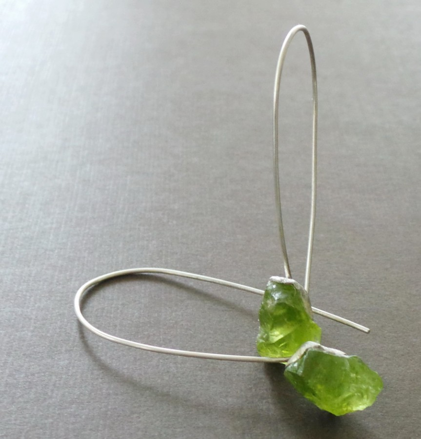 Raw Peridot Nugget Sterling Earrings