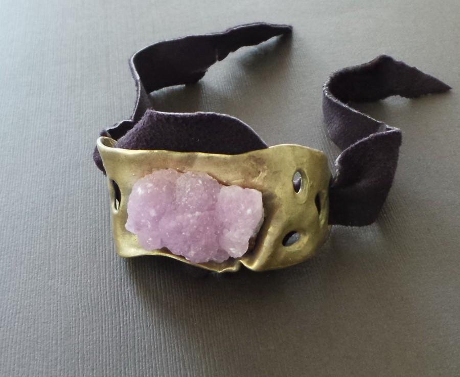 Raw Pink Cobalto Calcite Drusy Bronze Cuff Bracelet