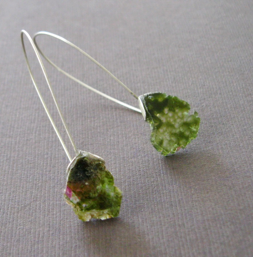 Raw Watermelon Tourmaline Sterling Earrings