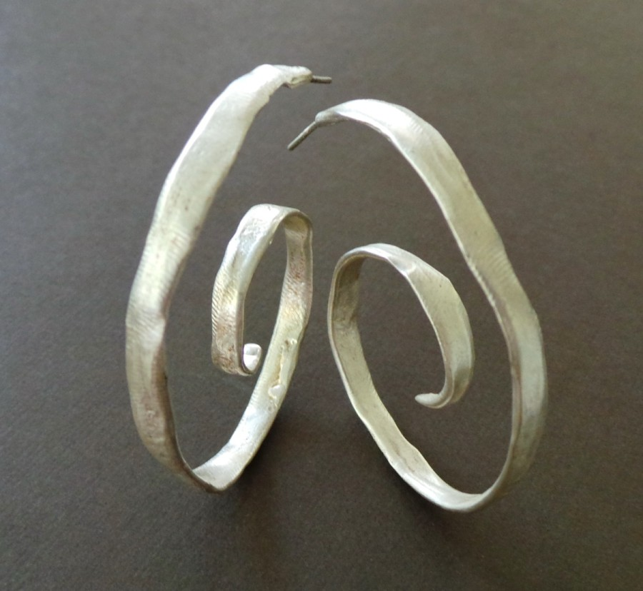 Sterling Spiral Hoop Earrings