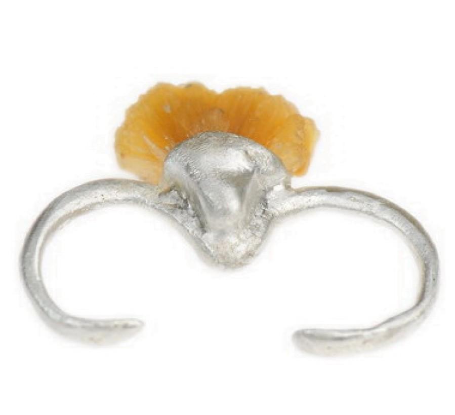 Tangerine Stilbite 2 Finger Double Ring