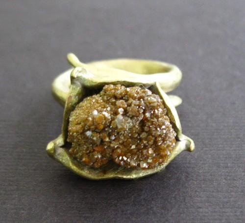 Raw Druzy Byzantine Bronze Ring