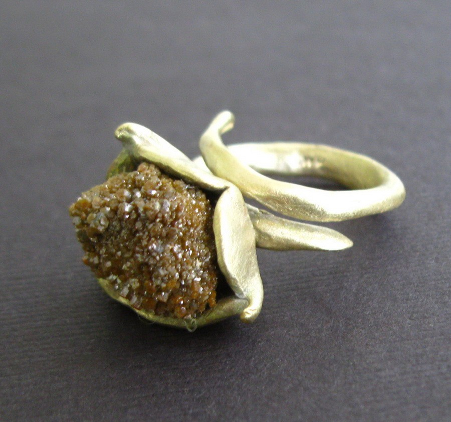 Raw Druzy Byzantine Bronze Ring