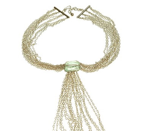 Aqua Quartz Sterling Waterfall Necklace