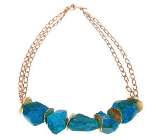 Modern Chrysacola Boulder Necklace