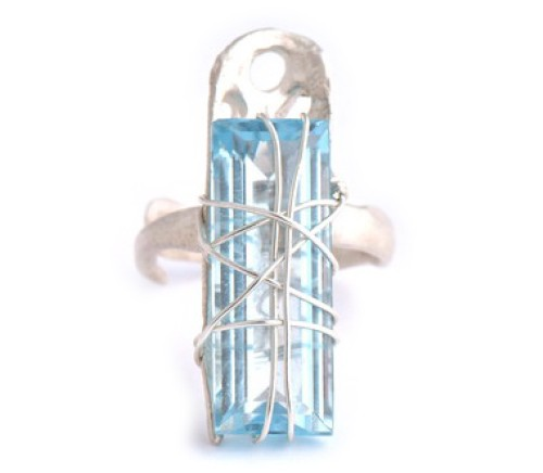 Blue Topaz Decay Ring