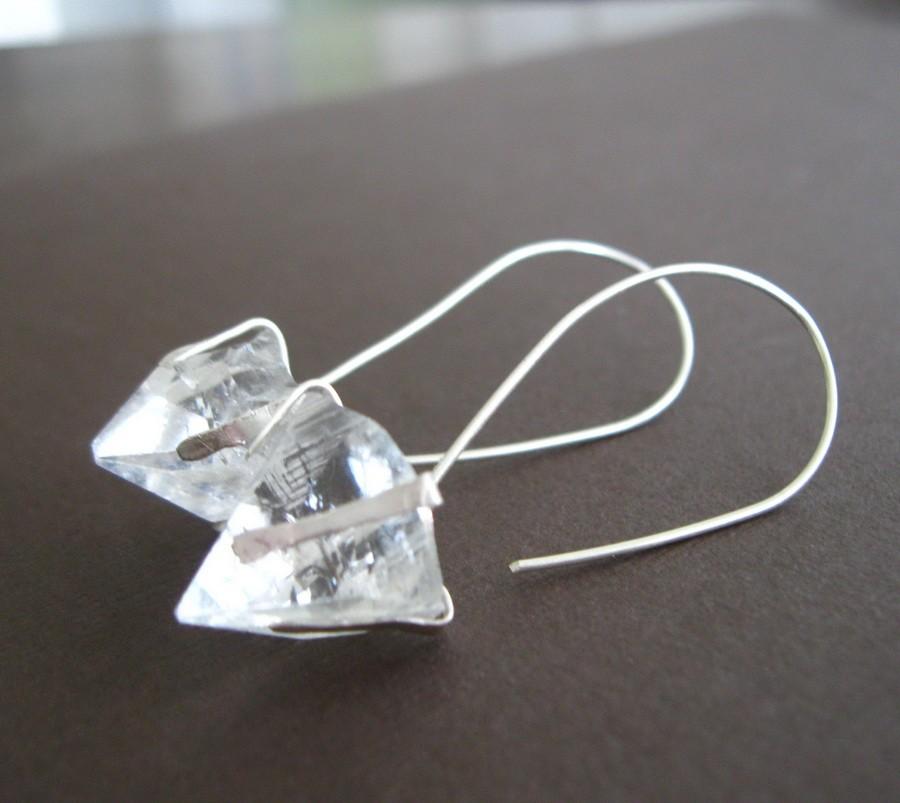 Crystal Pyramid Sterling Earrings