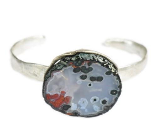 Geode Seascape Sterling Cuff Bracelet