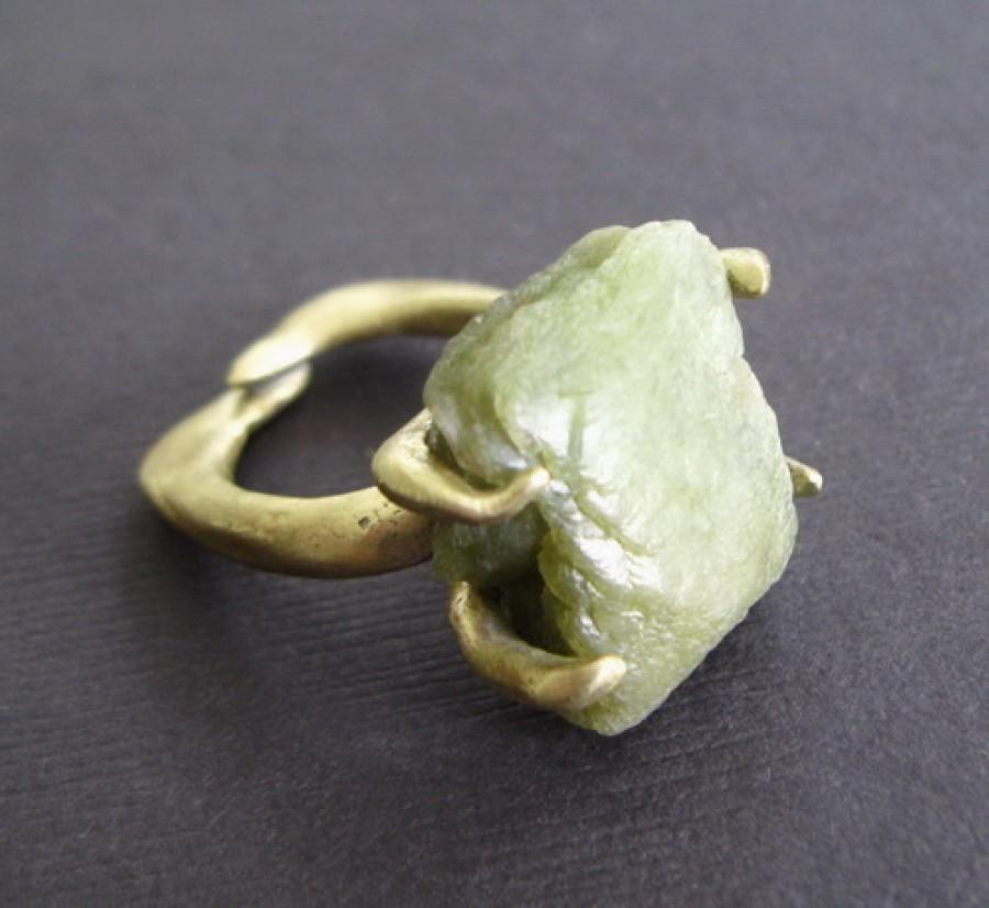 Raw Green Stilbite Bronze Ring