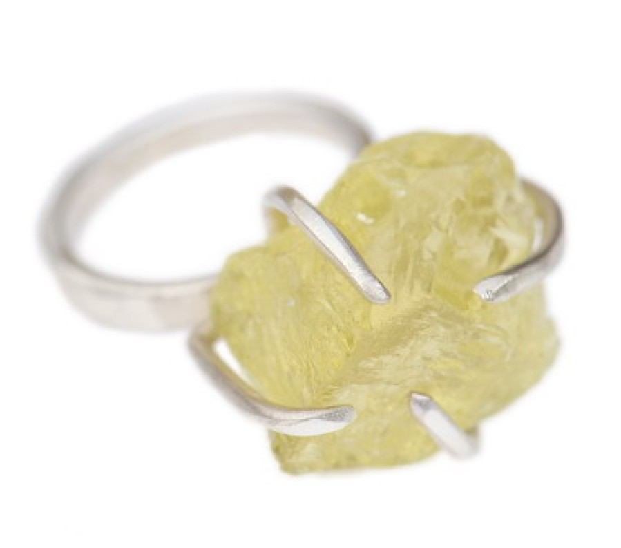 Raw Lemon Quartz Clutch Ring
