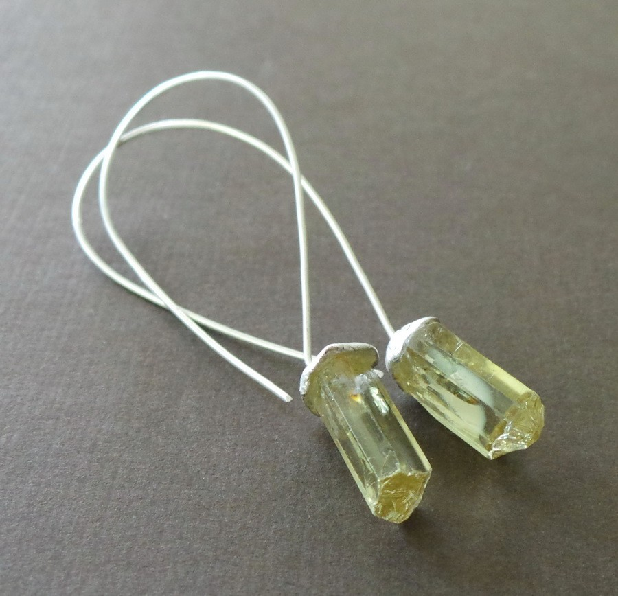Raw Tourmaline Nugget Sterling Earrings