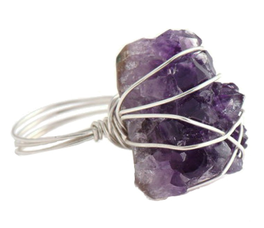 Rough Amethyst Sterling Ring