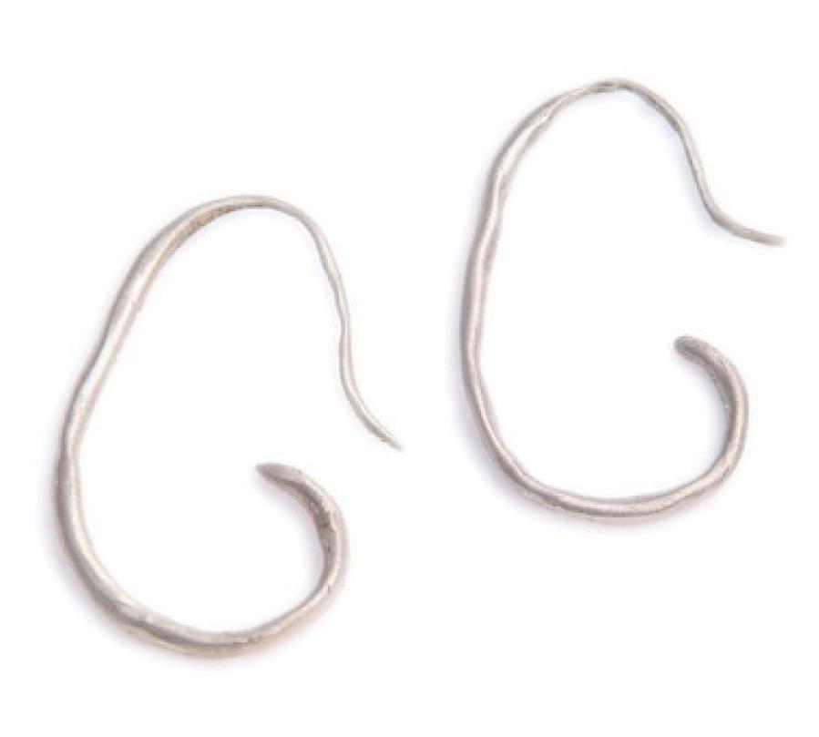 Sterling  Curly Thin Hoop Earrings